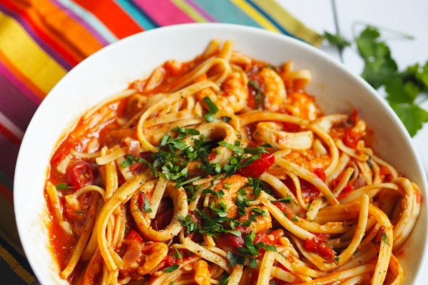 Spaghetti with Chili Paste and Squid